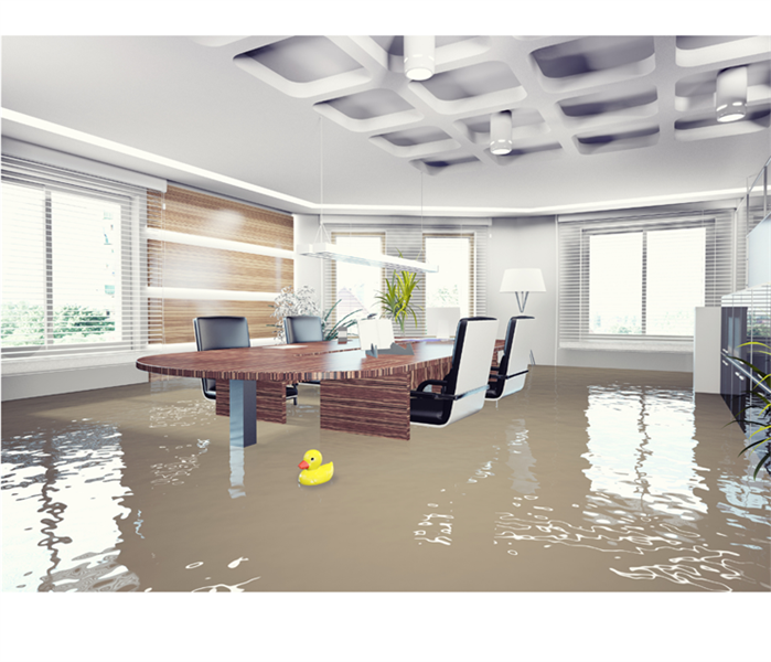 Flooded office with rubber duck